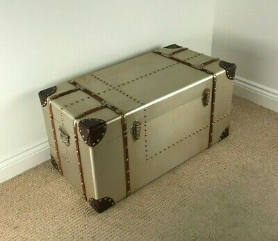 Large Aviator Storage Chest INDUSTRIAL / VINTAGE STYLE TRUNK  Aluminium Finish
