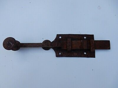 LATE 1800s wrought iron naif blacksmith made slide bolt  or latch to restore