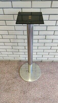 Lot of 2 x small Round Brushed Aluminium INOX Table Base - for restaurant