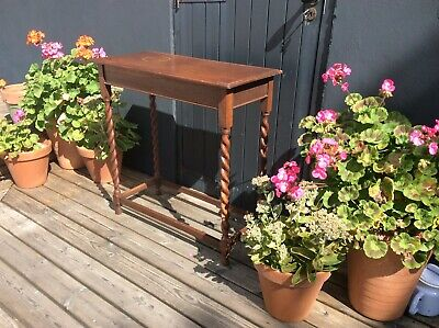 Antique Vintage Oak Side / Console Table with Barley Twist Legs