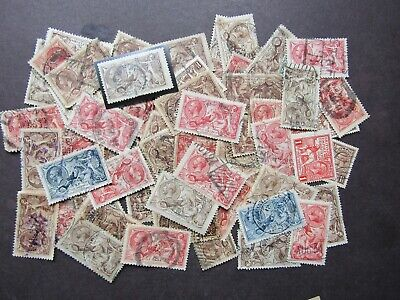 Great Britain - Collection Of Gv High Value Seahorses 2/6 To 10/- In Old Box 70+