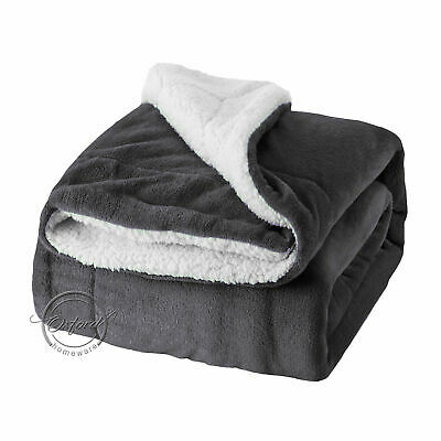 New Grey Sherpa Fleece Throw Blanket Large Warm Super Soft Home Sofa Bed Throw