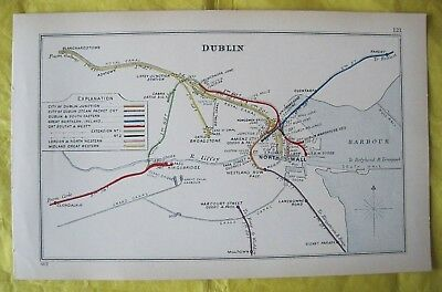 1912 RAILWAY CLEARING HOUSE Junction Diagram No.121 DUBLIN (BLUE HARBOUR)