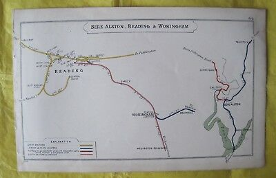 1909 RAILWAY CLEARING HOUSE Junction Diagram No.64 READING/WOKINGHAM/BERE ALSTON