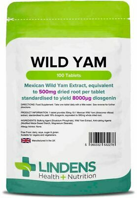 Wild Yam 500mg 100 Tablets Lindens Health + Nutrition (2278)
