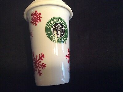 Starbucks 2010 Travel Tumbler Red Snowflakes White Ceramic Mug With Silicone Lid