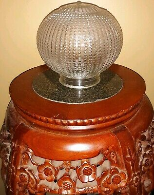 Vintage Hobnail Clear Glass Round Globe Lamp Shade Parlor Light Fixture