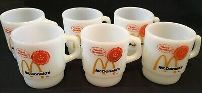 "Vintage Anchor Hocking Fire King 6 ""Mc Donald's"" Stackable Mugs D Handle Usa"