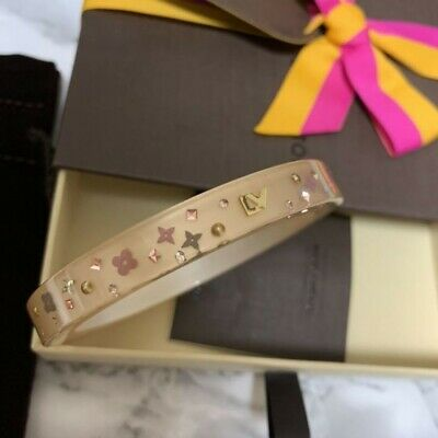 hea313 LOUIS VUITTON monogram pattern bangle multi color / rhinestone M size