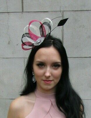 Black Cerise Hot Pink Ivory Sinamay Feather Hair Fascinator Races Wedding 7513