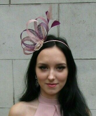 Dusky Blush Pink Heather Mauve Plum Purple Sinamay Feather Hair Fascinator 7511