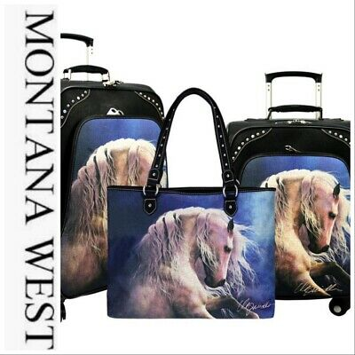 Montana West Blue Sky Horse Collection 3 PC Luggage Set-Black Laurie Prindle