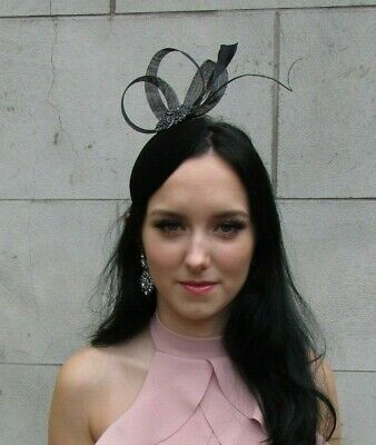 Black Velvet Feather Hat Fascinator Races Wedding Funeral Cocktail Hair 7528
