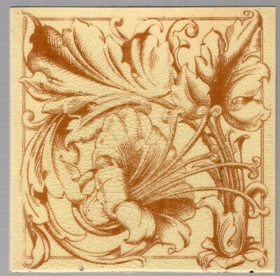 Minton Hollins & Co - c1880 - Victorian Floral Design  - Antique Transfer Tile