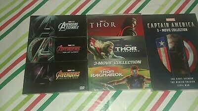 9 Marvel DVD Lot - Avengers Trilogy, Captain America, & Thor 3-Movie Collection