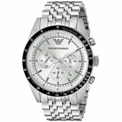 NEW Emporio Armani AR6073 Sportivo Chronograph Silver Men's Watch