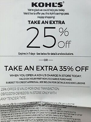 Kohl's 25% Coupons - four coupons - in store use only expires 9/16