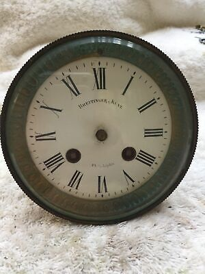"""Antique Marti French Mantle Movement Clock Crystal Dial, Bezels 4.75"""" D"""