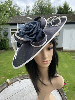 PETER BETTLEY FRENCH NAVY IVORY WEDDING DISC FASCINATOR Mother Of The Bride Hat
