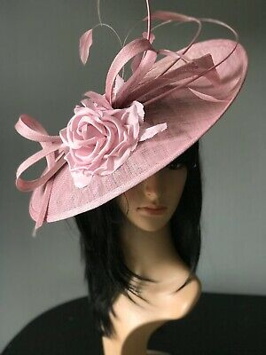 PETER BETTLEY PEARL PINK GLITTER WEDDING DISC FASCINATOR Mother Of The Bride Hat