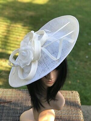 PETER BETTLEY IVORY GLITTER WEDDING DISC FASCINATOR Mother Of The Bride Hat
