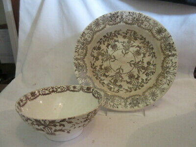"""T & R BOOTE  BURSLEY ENGLAND Platter """"LAHORE""""   IRONSTONE 1880's - 2 Pieces"""