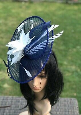 Suzanne Bettley Navy Blue And Ivory Wedding  Hat Disc Fascinator Occasion Formal