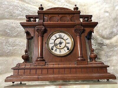 Large Vintage Antique Victorian Royal U.s.a Clock Walnut Case & Pendulum