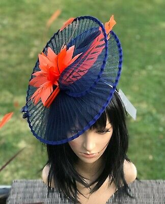 Suzanne Bettley Navy And Orange Wedding  Hat Disc Fascinator Occasion Formal