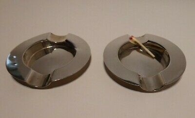 Pair English solid sterling silver ashtrays