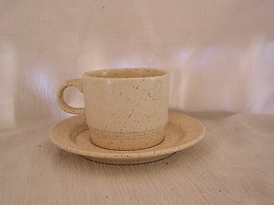 Homer Laughlin Sage Wheat Speckled Brown Made in USA Retro Cup & Saucer Set NICE