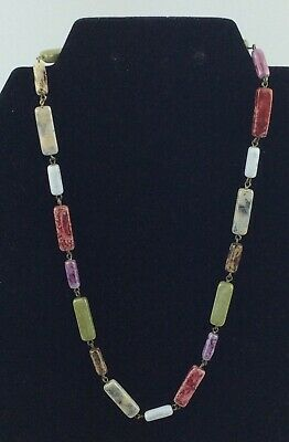 Vintage Art Deco Multi-Coloured Agate /Glass Bead Necklace. 18 inches.