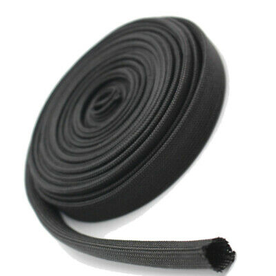 2m Woven sleeve Black Protector Spark Wire Plug Cover Parts Accessories