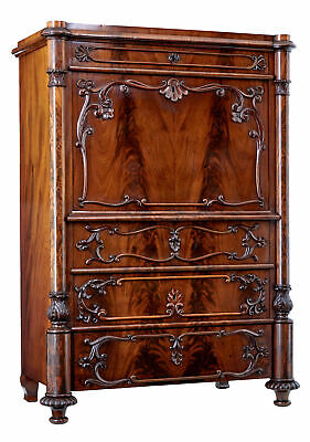 19Th Century Swedish Flame Mahogany Secretaire