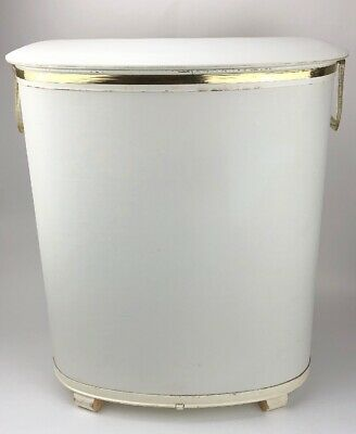 Vintage Mid Century Vinyl Metal Wicker Laundry Hamper - White/Gold Hollywood Reg