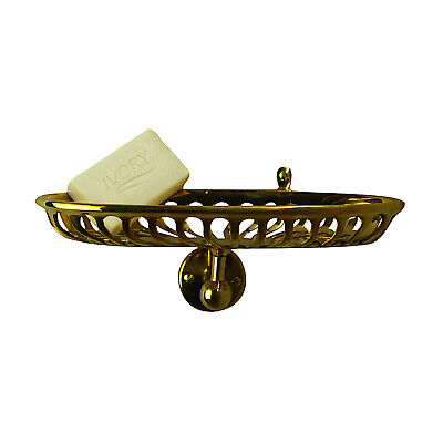 Oval Brass Wall Soap Dish Holder Vintage Old Bathroom Style Caddy