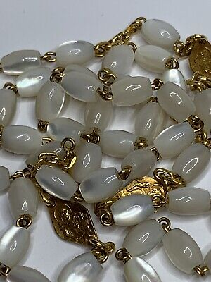 † Old Stock Vintage 22K Gold Overlay Extra Links Oval Mother Of Pearl Rosary †
