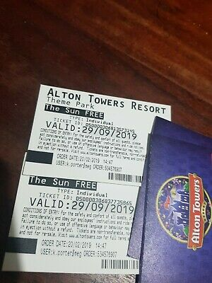 Alton Towers x 2 Tickets Sunday 29 September 29/09/2019
