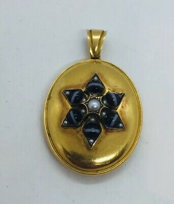 Antique Victorian 18k Yellow Gold Black Banded Agate Mourning Locket Pendant