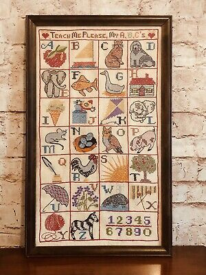 🔤Antique  Needlework Alphabet and Numbers Framed Hand Stitched🔤
