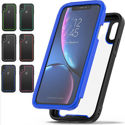 Heavy Duty Rubber Hybrid Transparent Shockproof PC Case For iPhone X XS Max XR