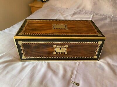Large Victorian Writing Slope/ Box With Working Lock & Lock