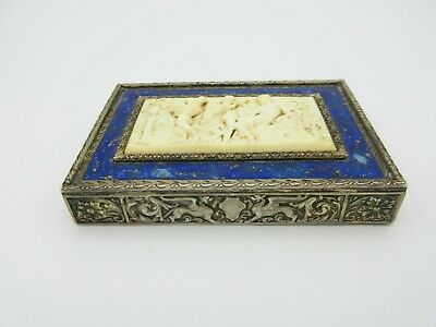 Superb Italian 800 silver & enamel compact or box with plaque of Dionysus, Satyr