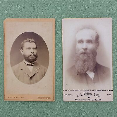 Early-1870s TWO CARTES DE VISITE LOT, CDV PHOTOS OF 2 HANDSOME BEARDED GENTLEMEN