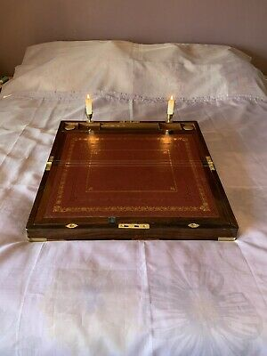Lge Victorian Writing Slope/ Box Secret Drawers Candles Sconces Lock & Key