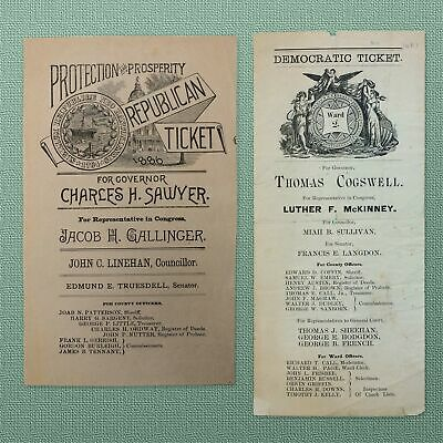 1887 CAMPAIGN TICKETS NEW HAMPSHIRE GOVERNOR'S BATTLE SAWYER vs. COGSWELL