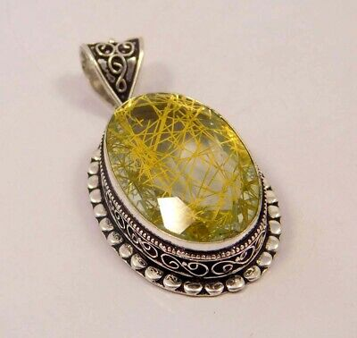 Golden Needle Rutlie .925 Silver Plated Hand Carving Pendant Jewelry JC6637