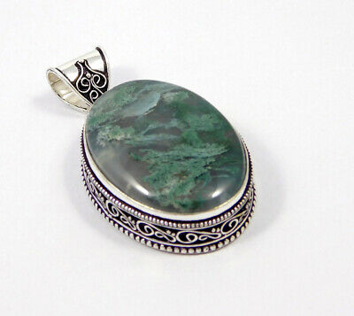 Green Moss Agate .925 Silver Plated Carving Pendant Jewelry JC7400