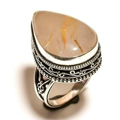 Charming Golden Needle Rutile Silver Carving Jewelry Ring Size 7 F11