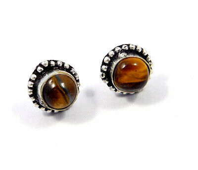 Tiger's Eye .925 Silver Plated Handmade Stud Earring Jewelry JC8215